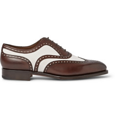 Edward Green Malvern Two-Tone Leather and Suede Wingtip Oxford Brogues