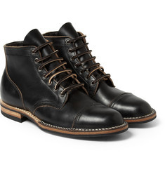 Viberg Rubber-Soled Leather Lace-Up Boots