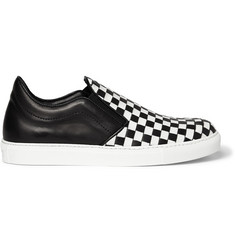 Mr. Hare Checked Leather Slip-On Sneakers