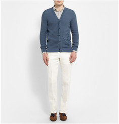 Richard James Off-White Straight-Leg Linen Suit Trousers