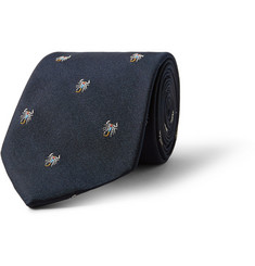 Richard James Embroidered Silk-Faille Tie