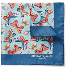 Richard James Butterfly-Print Silk-Twill Pocket Square