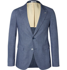Gant Rugger Navy Checked Linen and Cotton-Blend Blazer