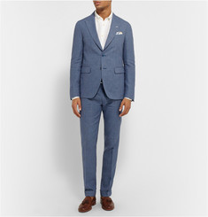 Gant Rugger Navy Slim-Fit Checked Linen and Cotton-Blend Trousers