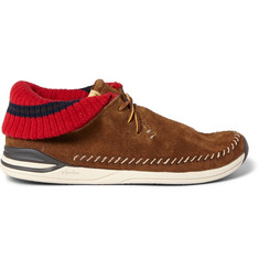 Visvim Malisset-Folk Suede and Knitted Sneakers