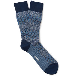 Missoni Zig-Zag Crochet-Knit Cotton-Blend Socks