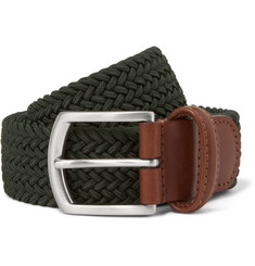 Anderson's Green 3.5cm Leather-Trimmed Elasticated Woven Belt