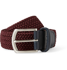Anderson's Burgundy 3.5cm Leather-Trimmed Elasticated Woven Belt