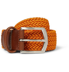 Anderson's Orange 3.5cm Leather-Trimmed Elasticated Woven Belt