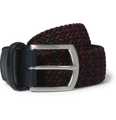 Anderson's Navy 3.5cm Leather-Trimmed Elasticated Woven Belt