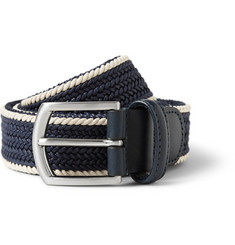 Anderson's Navy 3.5cm Leather-Trimmed Woven-Cotton Belt