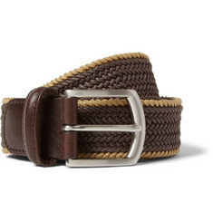 Anderson's Brown 3.5cm Leather-Trimmed Woven-Cotton Belt