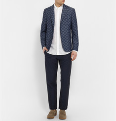 Barena Slim-Fit Linen and Cotton-Blend Jacquard Trousers