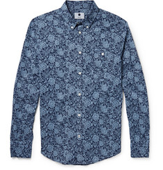 NN.07 New Derek Floral-Print Cotton-Chambray Shirt