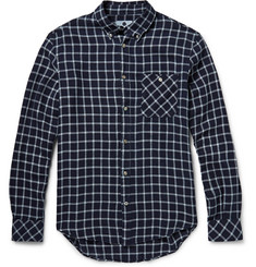 NN.07 New Derek Slim-Fit Windowpane-Check Linen-Blend Shirt