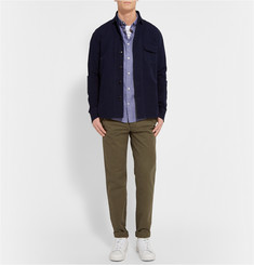 NN.07 Dereck Button-Down Collar Cotton and Linen-Blend Chambray Shirt