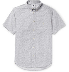 NN.07 New Derek Button-Down Collar Floral-Print Cotton-Poplin Shirt