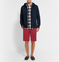 NN.07 Crown Brushed Stretch-Cotton Twill Shorts