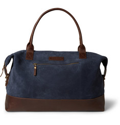Oliver Spencer Leather-Trimmed Burnished-Suede Holldall Bag