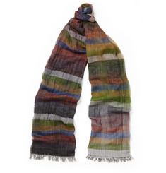 Oliver Spencer Oltley Striped Fine-Cotton Scarf