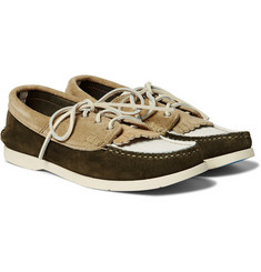 Yuketen - Three-Tone Panelled Suede Boat Shoes