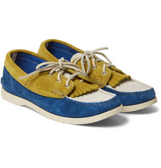 Yuketen Three-Tone Panelled Suede Boat Shoes