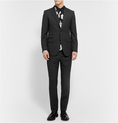 Wooyoungmi Black Slim-Fit Wool-Twill Trousers