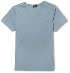 Hanro Mercerised Cotton-Blend V-Neck T-Shirt