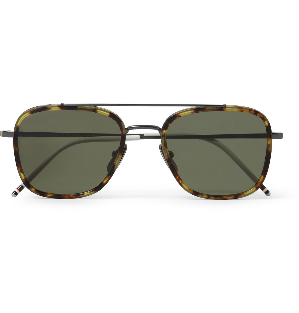 Aviator Style Tortoiseshell Acetate Sunglasses Brown