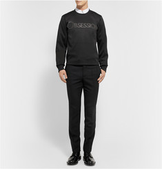 Calvin Klein Collection Obsession Leather-Appliquéd Tech-Jersey Sweatshirt