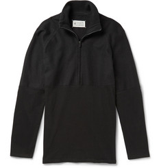 Maison Martin Margiela Panelled Cotton and Wool-Blend Zip-Collar Sweater