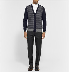 Maison Martin Margiela Striped Cotton and Wool-Blend Jacquard Cardigan