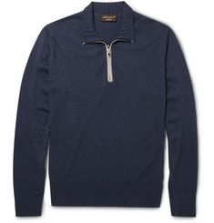Doriani Zip-Collar Cashmere and Silk-Blend Sweater