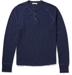 Alex Mill Waffle-Knit Indigo-Dyed Cotton Henley T-Shirt