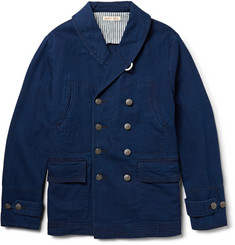 Alex Mill Indigo-Dyed Cotton and Linen-Blend Peacoat