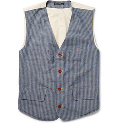 Alex Mill Pinstriped Cotton-Chambray Vest