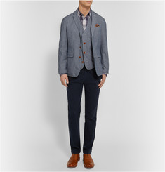 Alex Mill Indigo-Dyed Pinstriped Cotton-Chambray Vest