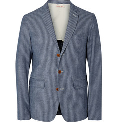 Alex Mill Blue Indigo-Dyed Striped Cotton Blazer