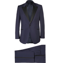 Huntsman Navy Slim-Fit Wool and Mohair-Blend Tuxedo