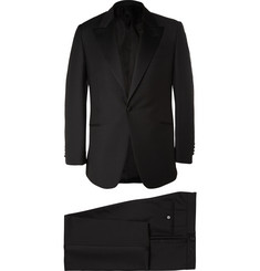 Huntsman Black Slim-Fit Wool and Mohair-Blend Tuxedo