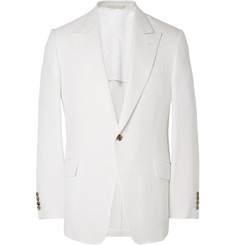 Huntsman White Slim-Fit Wool, Silk and Linen-Blend Blazer