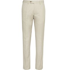 Huntsman Cream Slim-Fit Cotton-Twill Trousers
