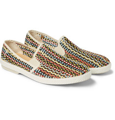 Rivieras Woven Faux Leather Slip-On Shoes