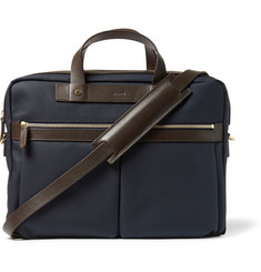 Mismo Leather-Trimmed Cotton-Canvas Briefcase