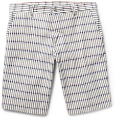 Raleigh Denim Jones Slim-Fit Checked Cotton-Canvas Shorts