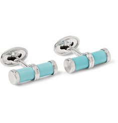 Trianon White Gold and Turquoise Bar Cufflinks