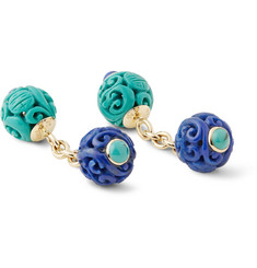 Trianon Gold, Turquoise and Lapis Cufflinks