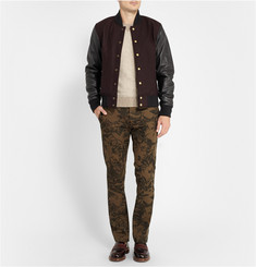 Club Monaco Leather and Wool-Blend Bomber Jacket
