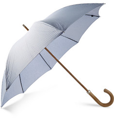 London Undercover Oxford Striped Malacca Wood-Handled Umbrella