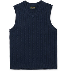 Beams Plus Cable-Knit Linen-Blend Vest